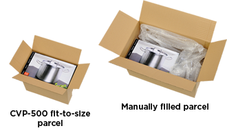 Manually filled box vs CVP-500 fit-to-size parcel